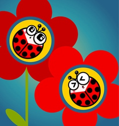 Ladybug flower vector
