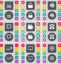 Laptop Lock Palette Chat bubble Wallet Retro phone vector