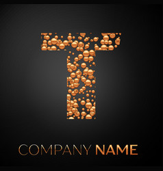 letter t logo gold dots alphabet logotype vector image