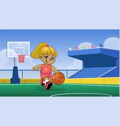 Little girl playing basketball in basketball vector