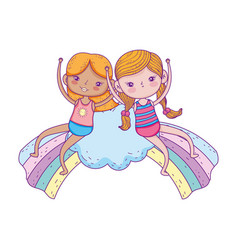 Little girls in the clouds with rainbow vector