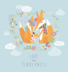 Loving fox family as a shape of a heart mother vector