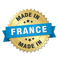 made in France gold badge with blue ribbon vector image