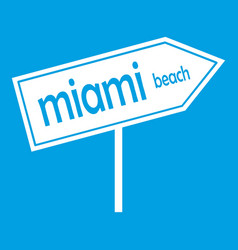 Miami arrow post sign icon white vector