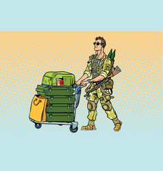 Military tourism mercenary with a luggage vector