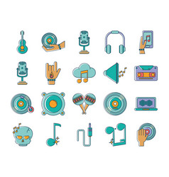 music melody sound audio icons set line and fill vector image