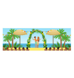 open wedding ceremony on tropical beach resort vector image