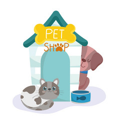 pet shop spotted cat and dog house and bowl vector image