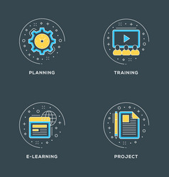 Planning training e-learning project set of 4 vector