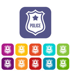 Police badge icons set vector