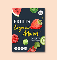 Poster design with fruits-theme creative vector