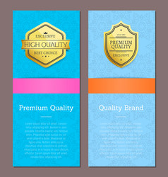 Premium quality band high end check promo labels vector