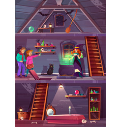 quest game background witch house players vector image
