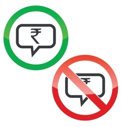 Rupee message permission signs vector