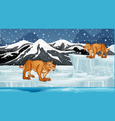 Scene with sabertooth on ice vector