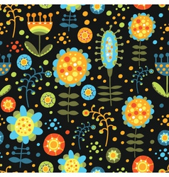 seamless floral pattern on a dark background vector image