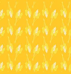 Seamless pattern crop oat wheat barley rye plant vector