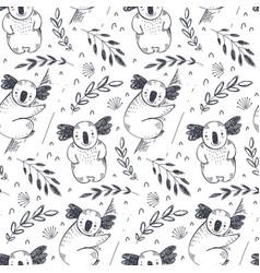 Seamless pattern with hand drawn koala vector