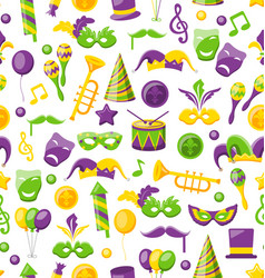 seamless texture with set carnival and mardi gras vector image