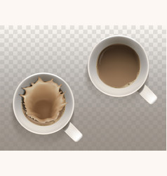 set with two white cups of coffee vector image