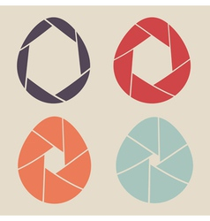 shutter eggs icon set vector image