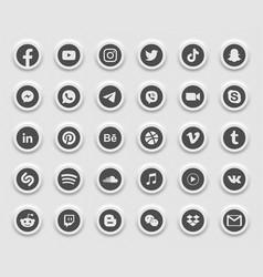 social media modern 3d web icons set vector image
