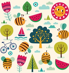 Summer pattern with bees vector image