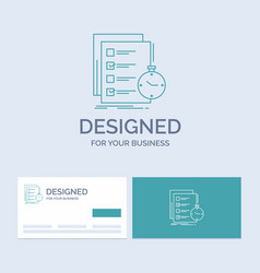 Todo task list check time business logo line icon vector