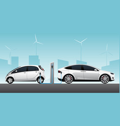 two white electric cars vector image