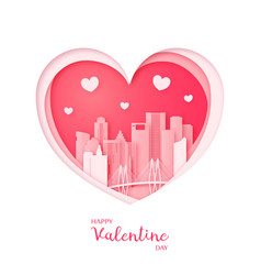 Valentines card paper cut heart and houston vector