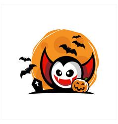 vampire face halloween moon vector image