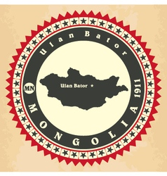 Vintage label-sticker cards of Mongolia vector image