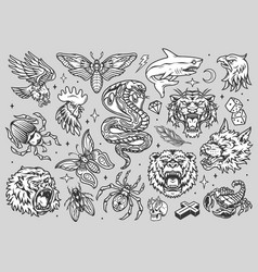 vintage monochrome tattoos collection vector image