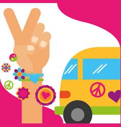 Vintage van hand peace and love flowers hippie vector