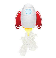 white flying rocket vector image