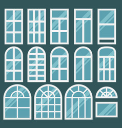 Windows set with different design of frames vector