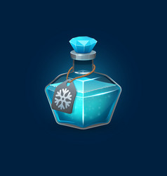 Witchcraft glass potion bottle with freeze spell vector