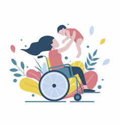 Woman in a wheelchair holds a baby vector