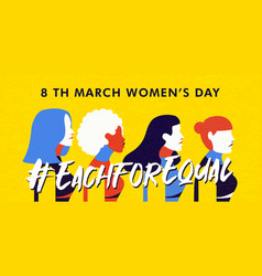 Womens day 8 march banner diverse woman group vector