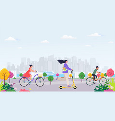 young modern woman rides an electric scooter vector image
