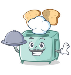 chef toaster character cartoon style vector image vector image