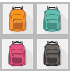colorful school bags and back packs set pattern vector image vector image