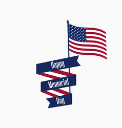 happy memorial day ribbon with text and american vector image