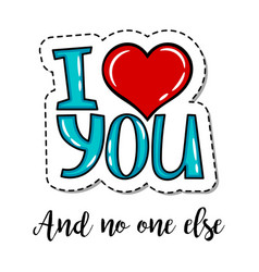 patch element i love you lettering vector image vector image