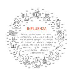 prevention of influenza round banner vector image vector image