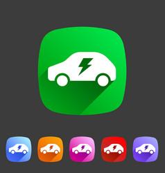 Electric car icon flat web sign symbol logo label vector