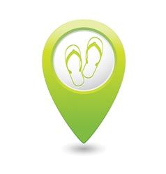 flip flops symbol green map pointer vector image vector image