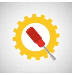 gear construction screwdriver tool vector image