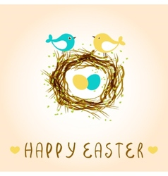 Happy easter card with birds and eggs in the nest vector image vector image