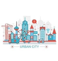 Modern Flat thin Line design Urban city concept vector image